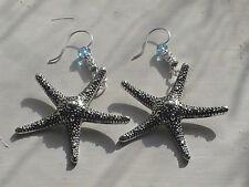 star fish earrings engraved large blessed Atlantis hand made shells summer ocean