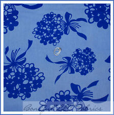 BonEful Fabric FQ Cotton Quilt VTG Blue Large Flower Wedding Dress Girl Bow RARE