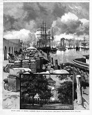 MOBILE ALABAMA WHARF, SHIPS, STEAMBOATS, COTTON, MULES CARRIAGES, HIGH SCHOOL