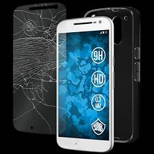 Silikon Hülle für Motorola Moto G4 Crystal Clear transparent + Glasfolie