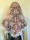 Pink veils and mantilla Catholic church chapel lace head covering Mass - Large