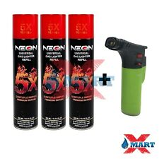 3 Cans NEON 5x PURIFIED BUTANE GAS REFILL 300ml + 1 TECHNO TORCH LIGHTER