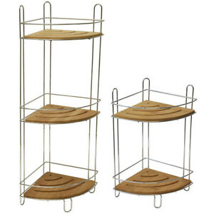 Freestanding Metal Wire Corner Shower Caddy - Bamboo Shelves Brown - Chrome