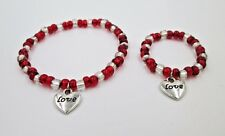 """Valentines Day 18"""" Doll and little girl matching bracelets jewelry accessory red"""