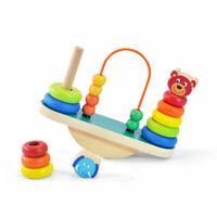 Kids Wooden Balance Board Stacking Blocks Shape Sorter Bead Maze Learning Toy