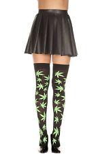 Gothic Marijuana Leaf High-Life Thigh-Hi Tights Halloween  Cosplay Party