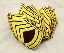 LOT 25 VINTAGE MILITARY MAROON & GOLD RANK CHEVRON PATCHES