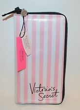 RARE VICTORIA'S SECRET PINK WHITE STRIPE TRAVEL WALLET PASSPORT COVER CASE LARGE