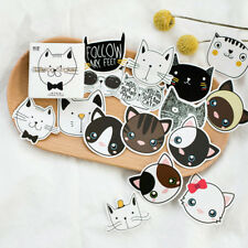 Lots 45pcs Cute Cat Head Mini Paper Sticker Decoration DIY Diary Label Sticker