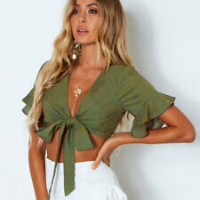 Womens Ladies Short Sleeve Lace Up Crop Tops Tie Knot Front Plunge Neck T Shirt