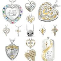 Jesus 925 Silver White Topaz Necklace 18K Gold Filled Pendant Chain Choker Women