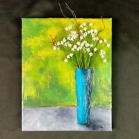 Floral Mixed Media Acrylic Painting Green Teal White Flowers OOAK