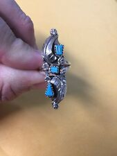 Native American Womens Zuni Leaf Turquoise Amy Locaspino ring Size 7 Jewelry #2