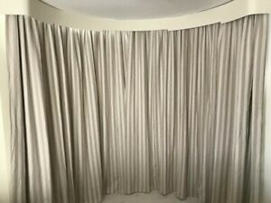 """Strips 100% Irish Linen Weighted  Thermal Lined Curtains 113"""" Long x 110"""" Wide"""