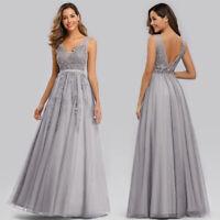 UK Ever-Pretty Plus Size Long Appliques Evening Party Dresses Cocktail Prom Gown