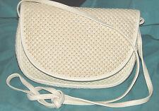 Amelia Berko white leather cross body bag,purse, clean interior, embossed weave