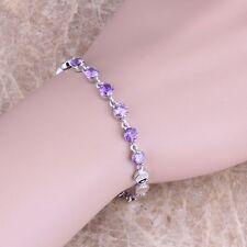 Purple Amethyst Silver Link Chain Bracelet 6 - 7 inch For Women S0329