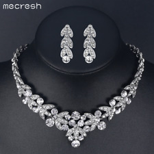 Mecresh Luxurious Silver African Crystal Bridal Jewelry Sets for Women TL206