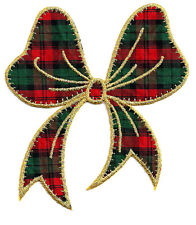 Bow - Iron On Applique Patch - Christmas Plaid - Red, Green & Metallic Gold