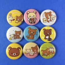 "Rilakkuma 1"" Button Pin Lot Cute Bear and Duck Japan Set #2"