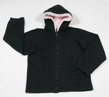 ENERGIE GIRLS SIZE XL 16  HOODED JACKET BLACK & PINK  FAUX FUR HOODIE