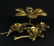 Brass Flower Ashtray Removable Pedals With Candleholder and Tree Branch Decor