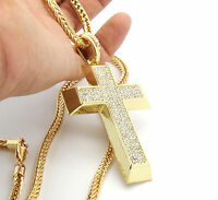 """Men's Gold Plated Iced Out Cross Pendant Hip-Hop 36"""" Franco Necklace Chain K9"""