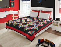 Patchwork Masculine Log Cabin FINISHED QUILT - Queen size - Abstract design