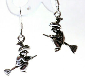 Hexe auf Besen Ohrringe 925 Sterling Silber Schmuck Hexen Ohrhänger Paar Neu