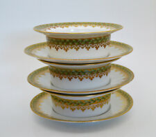 Antique CH. Field Haviland Limoge Empire Wreath Ramekin Bowls and Saucers
