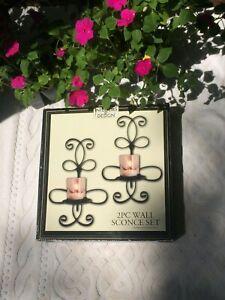 New Wall Sconce Set 2 Piece Black Iron Hanging Pillar Candle Holder Fleur-De-Lis