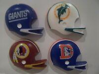 NFL FRIDGE MAGNETS- SET 0F 4 , GIANTS/DOLPHINS/BRONCOS/REDSKINS, 1980'S GRIDIRON