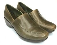 Ariat Womens 8.5 Brown Green Leather Wedge Clogs Slip Ons Shoes Stitching Detail