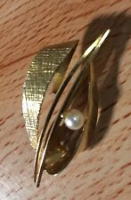 9ct gold pearl brooch - art nouveau style - great detail