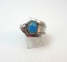 VINTAGE STERLING SILVER BLUE TURQUOISE SPOON RING *