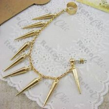 SPIKY EAR CUFF long punk chain EARRING gold plated SPIKES goth ROCK gothic