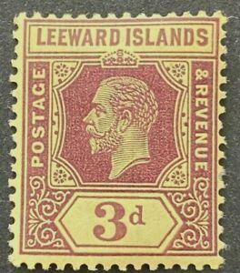 Leeward Islands KGV 1912-22 SG51a 3d Purple/Yellow on White Back MLH Cat £95