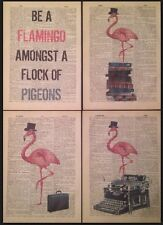 4 X Pink Flamingo Prints Vintage Dictionary Pages Wall Art Pictures Quote Birds