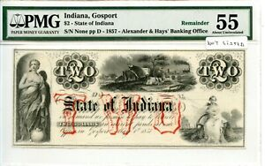 1857.   $2      Gosport,  State of Indiana     Rare Private Bank