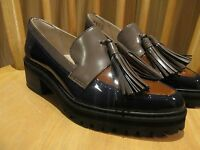 NEW Clarks leather shoes LOAFERS Womens ANNISTON VALE NAVY TAN GREY RRP £70