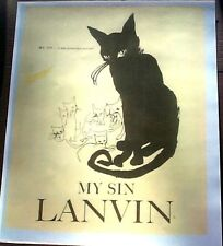 LANVIN MY SIN BLACK CAT SEVEN KITTENS ADVERTISEMENT PROVOCATIVE PERFUME REPRINT