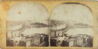 Stereo Ville A Identificare, Foto P61L8 Vintage Albumina Danneggiata Ca 1865