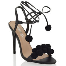 Womens High Heel Sandals Strappy Tie Lace Up Ladies Party Stilettos Shoes Size
