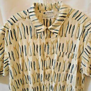 Columbia Sportswear Mens XL rayon flax Linen  fishing lures shirt Ivory Teal