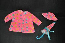 BARBIE DOLL Fashion Pink Floral Raincoat Umbrella Hat  LABELED OUTFIT EXC COND
