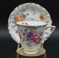 Royal Crown Derby Posies Hand Painted Floral Clusters Cups & Saucers