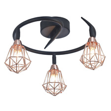 Modern Matt Black and Copper Ceiling Light with Adjustable Metal Cage Shades ...