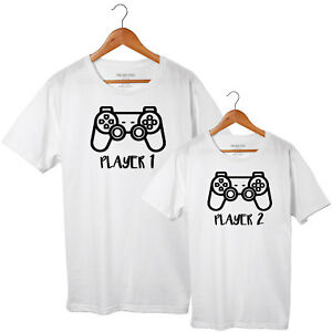 Player 1, Player 2 - Father Son matching T-shirt Set - Dad Son Controller Tshirt