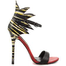 New TNT Open Toe Stiletto Heels Black Multi Snake by Taylor Says sz 8.5   R636