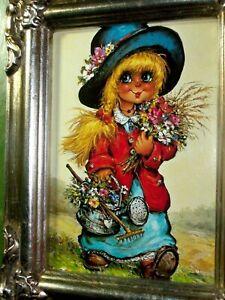 "Vintage M Thomas ""La Jardiniere"" Blonde Girl Wild Flowers Art Print Card Holland"